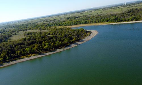 Aerial view of Benbrook Lake