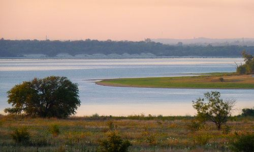Looking across Benbrook Lake