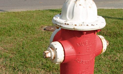 Red and White Fire Hydrant